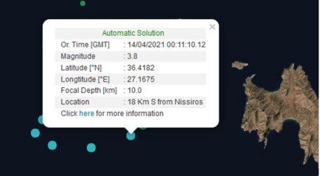 Σεισμική δόνηση 3,8 Ρίχτερ νότια της Νισύρου