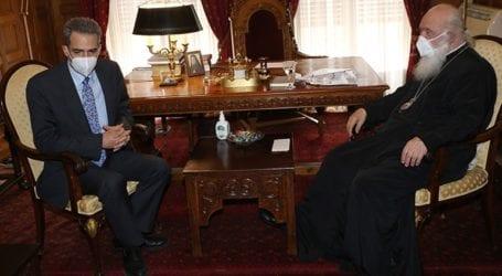 Συνάντηση του αρχιεπισκόπου Ιερώνυμου με τον υφυπουργό Παιδείας Άγγελο Συρίγο