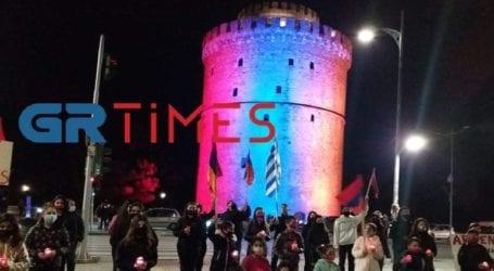 Ο Λευκός Πύργος στα χρώματα της αρμενικής σημαίας για τη Γενοκτονία