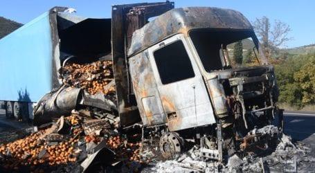 Μαγνησία: Κάηκε ολοσχερώς νταλίκα που μετέφερε ελιές στην εθνική