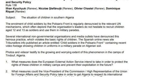 Ερώτηση στο Ευρωπαϊκό Κοινοβούλιο για το θέμα της στρατολόγησης παιδιών από το Πολισάριο