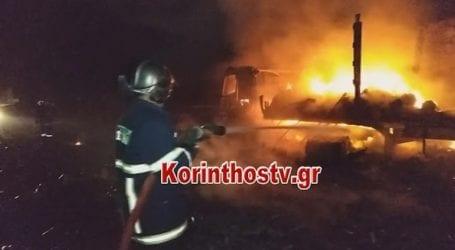Φωτιά σε νταλίκα στην Παλαιά Εθνική Οδό Αθηνών