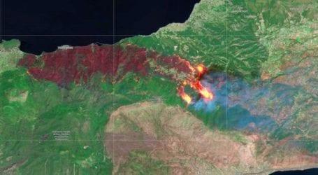 Δορυφορική εικόνα της μεγάλης πυρκαγιάς στα Γεράνεια Όρη