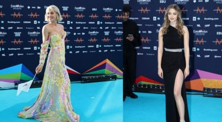 Η Στεφανία Λυμπερακάκη και η Έλενα Τσαγκρινού έλαμψαν στο turquoise χαλί της Eurovision 2021