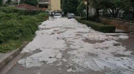 Καταιγίδα και έντονη χαλαζόπτωση στην πόλη της Κοζάνης