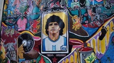 Ο Μαραντόνα έγινε τοιχογραφία στη Λάρισα