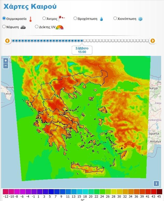 Σάββατο 26/6 ώρα 15.00 (Πηγή: weather.gr)