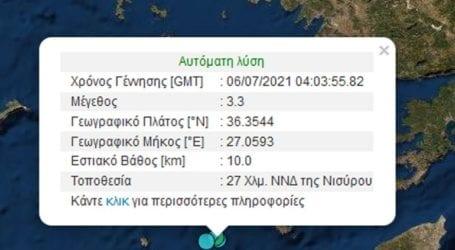 Σεισμός 3,3 Ρίχτερ στη Νίσυρο