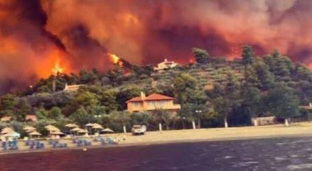 Τρία μέτωπα φωτιάς στη Β. Εύβοια απειλούν να φτάσουν στο Αιγαίο